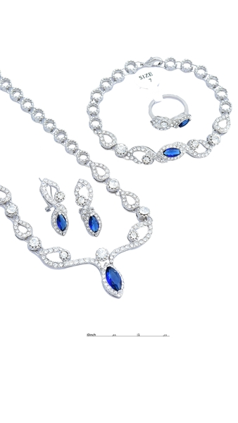 Picture of Popular Design Zine-Alloy Sea Blue 4 Pieces Jewelry Sets