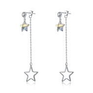 Show details for  925 Sterling Silver Casual Dangle Earrings 3LK053666E