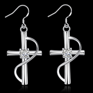 Picture of Casual Platinum Plated Dangle Earrings with Fast Delivery