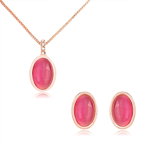 Picture of Good Quality Opal Rose Gold Plated Necklace and Earring Set