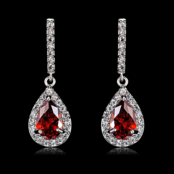 Picture of Bulk Platinum Plated Cubic Zirconia Dangle Earrings at Super Low Price