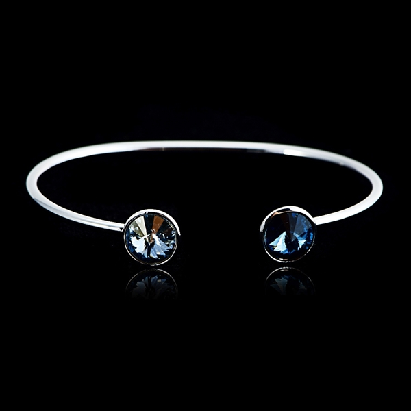 Picture of Eye-Catching Blue Platinum Plated Fashion Bangle from Reliable Manufacturer