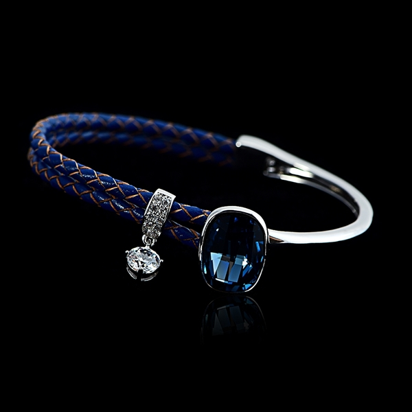 Picture of Reasonably Priced Platinum Plated Blue Fashion Bangle from Reliable Manufacturer