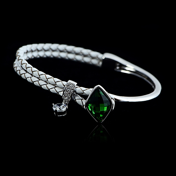 Picture of Fast Selling Green Platinum Plated Fashion Bangle Factory Direct Supply