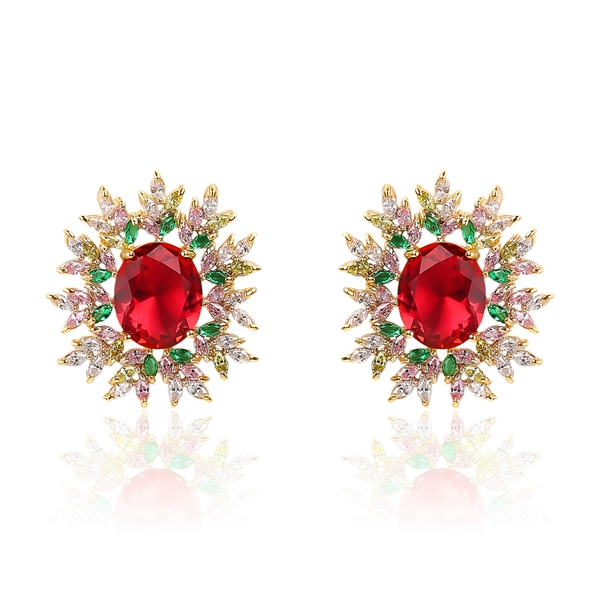 Picture of Beautiful Cubic Zirconia Red Stud Earrings