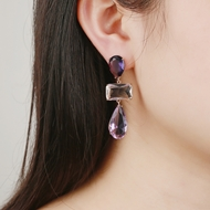 Picture of Copper or Brass Purple Dangle Earrings at Super Low Price