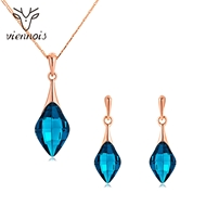 Picture of 16 Inch Blue Necklace and Earring Set in Flattering Style