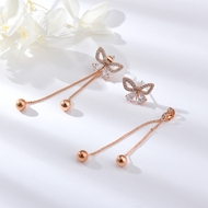Picture of Delicate Rose Gold Plated Dangle Earrings at Unbeatable Price