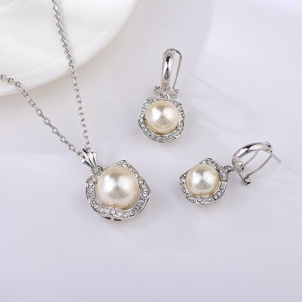 Picture of Classic White 2 Piece Jewelry Set with Beautiful Craftmanship