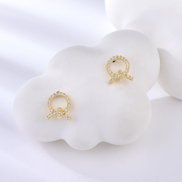 Picture of Beautiful Cubic Zirconia Gold Plated Stud Earrings