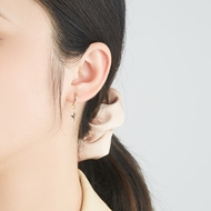 Picture of Great Value White Artificial Crystal Small Hoop Earrings with Member Discount