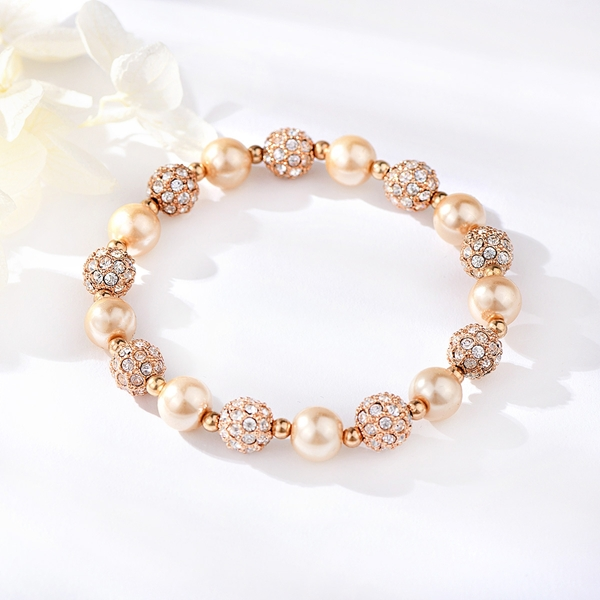 Picture of Unusual Small Rose Gold Plated Beaded Bracelet
